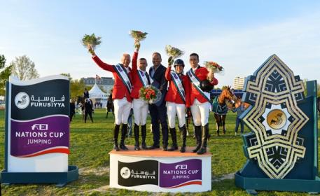 The winning Belgian team at the Furusiyya FEI Nations Cup™ Jumping 2015 Europe Division 2 leg at Odense, Denmark today: (L to R) Jeromy Guery, Wilm Vermeir, Chef d'Equipe Maurice van Roosbroeck, Catherine von Roosbroeck and Gilles Dunon. (FEI/Annette Boe Østergaard)