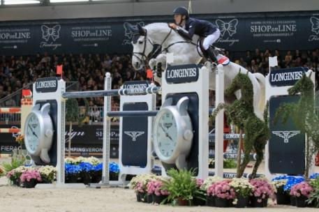 Ireland's Bertram Allen steered Molly Malone to victory in his first-ever Longines FEI World Cup™ Jumping qualifier at the fourth leg of the 2014/2015 Western European League series in Verona, Italy today. (FEI/Stefano Secci)