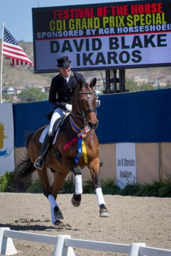 David Blake and Ikaros celebrate their win the Grand Prix Special at the Festival of the Horse CDI. (Photo: Terri Miller)