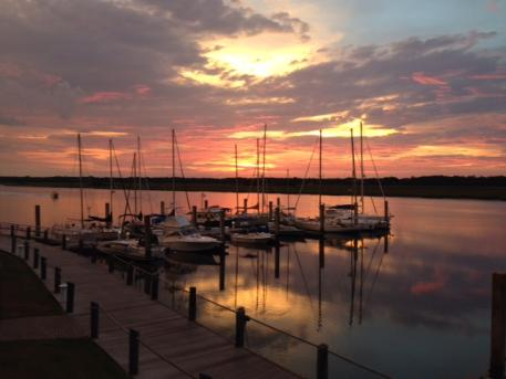 Bohicket Marina is the go-to place for the horse show community where they can grab a drink and sunset together on the dock.