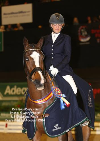 Shauntel Bryant of Redmond, Washington, rode Luis Vuitton, a 14-year-old Hanoverian gelding owned by Melissa Beardsley to the win in the Fourth Level Championship on Saturday with a 69.417 percent.