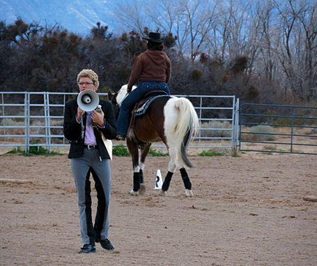 Callie Klein of Cloud Nine Ranch LLC instructs students. Klein is a recognized professional with the North American Western Dressage association and developed the curriculum for the Western Dressage 1-2-3 clinics.