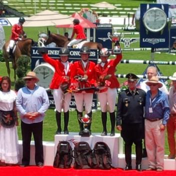 The Canadian flag waved above all three spots on the podium on April 26 after Canadians, Elizabeth Gingras, Kara Chad, and Erynn Ballard swept the $2,250,000 MXN Veracruz Grand Prix on the final day of the CSIO 4* Coapexpan in Mexico. Photo Credit: Equine Canada
