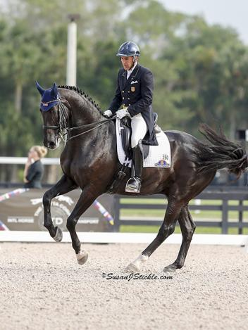 Cesar Parra of Piaffe Performance wins the Grand Prix on Van the Man at the Adequan Global Dressage Festival
