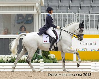 Colleen Loach, 32, of Dunham, QC, produced a top ten dressage performance with Qorry Blue d'Argouges. Photo © Cealy Tetley - www.tetleyphoto.com