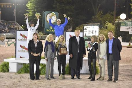 Team Captains Georgina Bloomberg and Kent Farrington in their presentation with Kim McCullough, Vice President of Marketing Jaguar Land Rover North America, Terry Allen Kramer, Paige Bellissimo, Mr. Donald Trump, Amy Klein of Suncast, and Katherine and Mark Bellissimo. Photo Credit Kit Houghton/Rolex