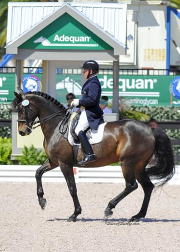 Olympian Michael Poulin Reserve Champion in the Grand Prix Open at the Region 8 USDF Dressage Finals with the 13-yr-old KWPN mare, Flair (Florestan I X Idootine) owned by Pineland Farms Inc. Photo: Susan J. Stickle