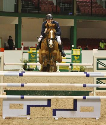 Daniel Coyle and Zuidam, winners of Friday's Equestrian Surfaces Ireland Invitation Championship Grand Prix, on the opening day of the Emerald International Irish Masters in Co Kildare, photo by Sonya Dempsey www.jumpingnews.com