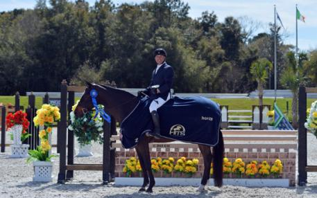 David Connors and Karmin win the 0,000 Devoucoux Hunter Prix at HITS Ocala in Ocala, Florida. (C) ESI Photography