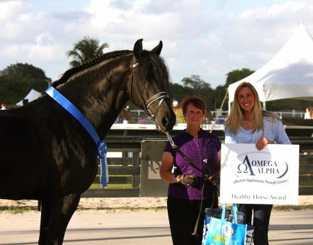 Morris, owned by Willem Helema and ridden by Karin Davis, won the Omega Alpha Healthy Horse Award at the AGDF. Left to right: Morris, Karin Davis, and Krystalanne Shingler of ShowChic presenting the award.