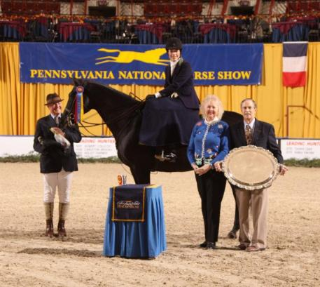 Ladies Sidesaddle Champion Devon Zebrovious & Quest receive their award from Mr. and Mrs. Richard L. Hornberger (c) Al Cook - alcookphoto.com