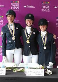 Dressage Junior Individual medalists - Chloe Taylor (Bronze), Helen Claire McNulty (Gold), and Camille Bergeron (Silver) (Photo: SusanJStickle.com)