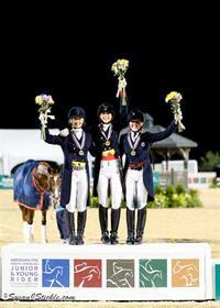 Dressage Young Rider Freestyle medalists - Hannah Bauer, Naima Moreira Laliberte, and Kerrigan Gluch (Photo: SusanJStickle.com)