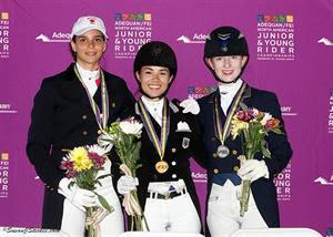 Dressage Young Rider Individual medalists - Naima Moriera Laliberte (Bronze), Natalie Pai (Gold), and Catherine Chamberlain (Silver) (Photo: SusanJStickle.com)