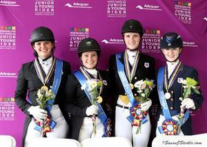 Dressage Young Rider Team Gold medalist from Region 7 - Samantha Jenny, Cassidy Gallman, Lindsey Brewin, and Catherine Chamberlain (Photo: SusanJStickle.com)