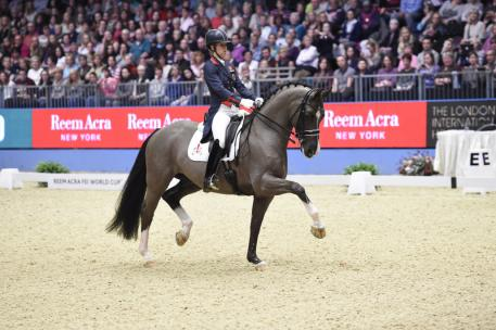 Great Britain's Charlotte Dujardin and Valegro produced a performance close to perfection when winning tonight's fifth leg of the Reem Acra FEI World Cup™ Dressage 2014/2015 Western European League at Olympia in London (GBR) with yet another world-record-breaking score. (FEI/Kit Houghton)