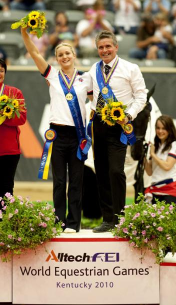 Great Britain's Joanne Eccles, pictured with her father John who is her lunger, took individual female Vaulting gold at the Alltech FEI World Equestrian Games™ 2010 in Kentucky, USA.  (Kit Houghton/FEI)