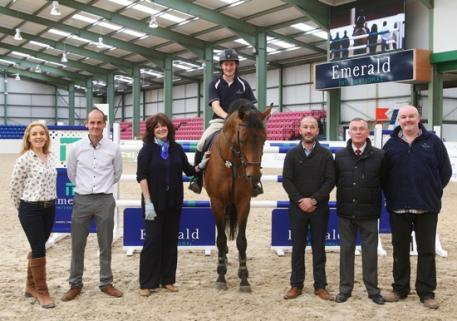 Pictured at the test day for Emerald International Equestrian Centre in Co Kildare were from left, Pippa McDonald-Clinch (show director), Michael Buckley (project manager at Emerald), Caroline Teltsch (event manager), show jumper Tholm Keane on Delano W, James Buckley (managing director), Noel Buckley (director) and Noel Boyle (event director). Photo by Laurence dunne Jumpinaction.net