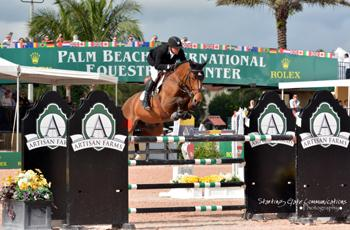 For the second week in a row, Eric Lamaze and Rosana du Park, owned by Artisan Farms LLC and Torrey Pines Stable, won the $30,000 Ruby et Violette WEF Challenge Cup at the 2015 Winter Equestrian Festival in Wellington, FL.  Photo by Starting Gate Communications