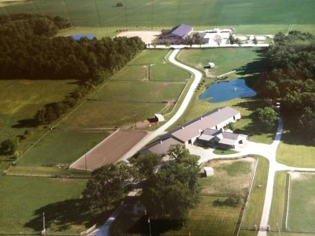 Aerial view of the World Class Training Facility Gypsy Woods Farm in Richmond, OH