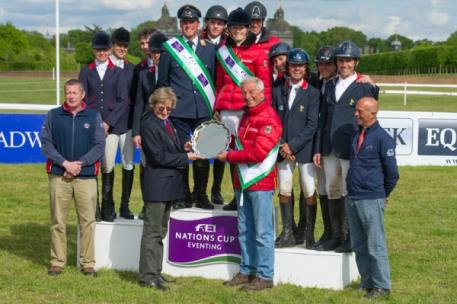 Germany wins leg three of FEI Nations Cup™ Eventing 2015 (centre), with Great Britain (left) placing second and France third at the beautiful and historic Houghton Hall (GBR). (Trevor Holt/FEI)