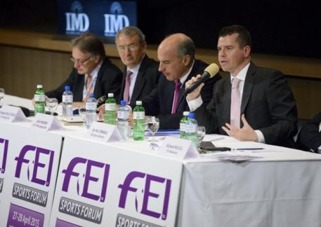IOC Sports Director Kit McConnell (far right) pictured with the chairmen of FEI Olympic disciplines (from left): Frank Kemperman, Dressage; Giuseppe Della Chiesa, Eventing; and John Madden, Jumping. Photo: FEI/Germain Arias-Schreiber