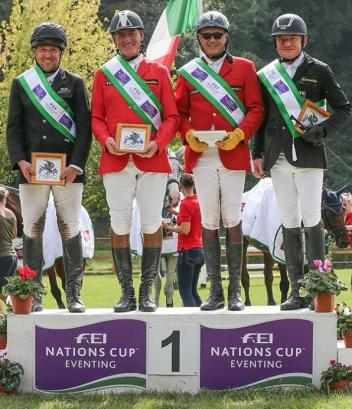 (left to right) Team Germany's Robert Sirch, Jörg Kurbel, Bodo Battenberg and Wolf Dieter-Eckl scored the victory in Montelibretti (ITA) at the weekend to put Germany back in the lead of the FEI Nations Cup™ Eventing 2014. All eyes are now on the final two legs of the series in Waregem (BEL) this coming weekend and Boekelo (NED) on 9-12 October. (Massimo Argenziano/FEI)