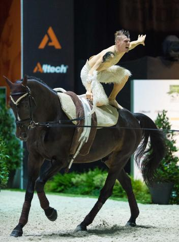 Vaulter, Jacques Ferrari, nearly raised the roof off the Zenith Arena in Caen tonight when securing the first gold medal for France at the Alltech FEI World Equestrian Games™ 2014.  (Jon Stroud/FEI)