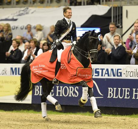 The Netherlands' Edward Gal steered Glock's Undercover to victory in the opening leg of the Reem Acra FEI World Cup™ Dressage 2014/2015 Western European League at Odense in Denmark today. (FEI/Annette Boe Ostergaard)