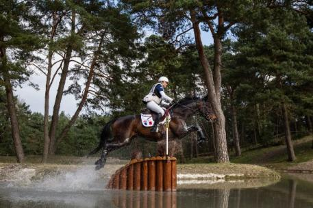 Gwendolen Fer (FRA) and Romantic Love scored the fastest time on Cross Country, helping France to win the first leg of FEI Nations Cup™ Eventing 2015 at Fontainebleau, France (Eric Knoll/FEI).