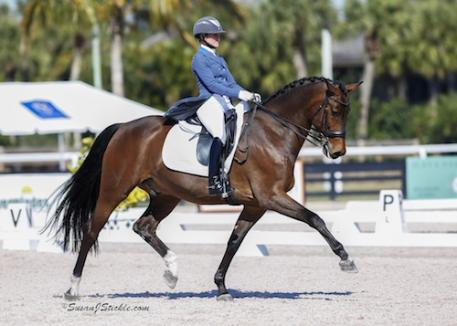 Susanne Hassler and Harmony's Boitana with a 75.294% in the Markel/USEF Developing Horse Prix St. Georges Photo: SusanJStickle.com