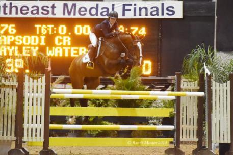 Hayley Waters and Rapsodi CR jump to the win in the $25,000 Jacksonville Grand Prix. Photo by Randi Muster.