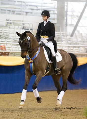 Garyn Heidemann & French Kiss won the Intermediaire I Freestyle at Mid-Winter Dressage CDI. (Photo by Terri Miller)