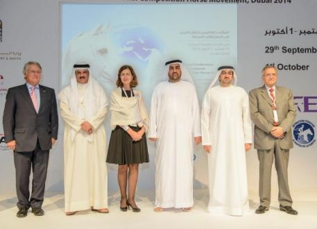 Pictured at the three-day regional conference for the Middle East and North Africa on the Facilitation of International Competition Horse Movement, which concluded today in Dubai (UAE) are (from left): John McEwen, FEI 1st Vice-President and Chair of the FEI Veterinary Committee; HE Sheikh Khaled Bin Abdullah Al Khalifa (BRN), FEI Executive Board Member and Chair of FEI Group VII; Dr Monique Eloit, Deputy Director General of the OIE; HE Dr Rashid Ahmed bin Fahed, Minister of Environment and Water of the Uni