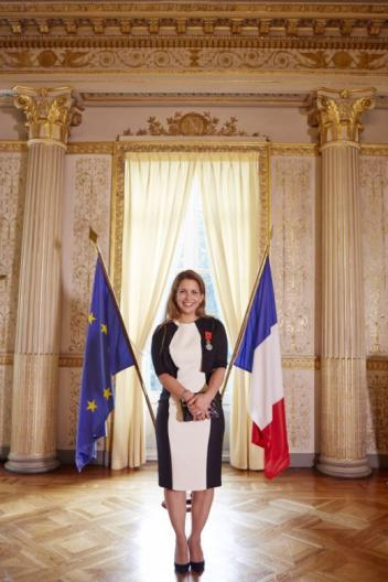FEI President HRH Princess who was today made Officer of the National Order of the Legion of Honour, France's highest distinction. The flag of the European Union, of which France is a member state, and the French flag are pictured in the background. (FEI/Liz Gregg)