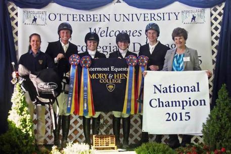 The winning team at the 2015 IDA National Championships - Emory & Henry College was thrilled to be awarded with saddles from Custom Saddlery. (L-R): Emory & Henry Dressage Team Coach and Equestrian Center Director, Lisa Moosmueller-Terry; Nicholas Martino; Bailey Halverson; Karissa Donohue; Elijah Worth-Jones; and IDA President, Beth Beukema (Photo: Emory & Henry College)