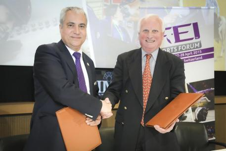 FEI President Ingmar De Vos (left) is pictured with Dr Hanfried Haring, President of the European Equestrian Federation, following the signing of the Memorandum of Understanding at the FEI Sports Forum 2015 held at the IMD in Lausanne, Switzerland. (FEI/Germain Arias-Schreiber)