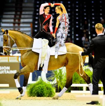 Jasmin Lindner and Lukas Wacha (AUT), current world champions, have worked on their choreography for almost a year and are now ready to defend their FEI World Cup™ Vaulting 2014/15 title. (Daniel Kaiser/FEI)