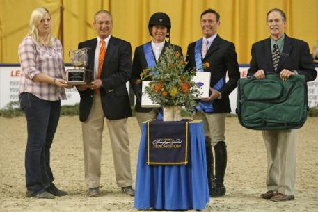 Jennifer Alfano and Scott Stewart tie for the coveted Pennsylvania National Horse Show Leading Hunter Rider award. Photo by Emily Riden/Phelps Media Group.
