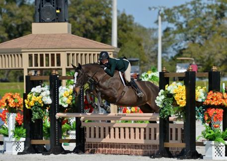Jennifer Jones on Clear Sailing take first place in the $5,000 Devoucoux Hunter Prix Saturday, January 17. (c) ESI Photography