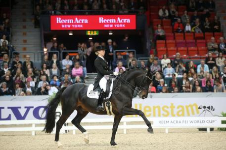 Jessica won Bredow-Werndl, GER and Unee B won the Reem Acra EI World Cup Grand Prix kür. (Photo: Roland Thunholm)