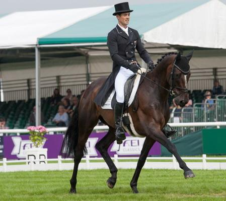 Jock Paget (NZL) and Clifton Promise produce a superb test to take the lead after Dressage at the Land Rover Burghley Horse Trials. (Trevor Holt/FEI)