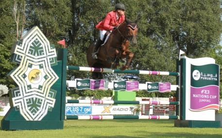 Joerg Oppermann and Che Guevara jumped double-clear to help Germany to victory at the seventh and penultimate leg of the Furusiyya FEI Nations Cup™ Jumping 2014 Europe Division 2 series in Bratislava (SVK) yesterday.  Photo: FEI/Anton Martinec.
