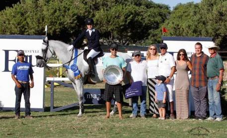 Josephina Nor Lantzman celebrates with friends and family after winning the $50,000 Grand Prix of Showpark, presented by Equ Lifestyle