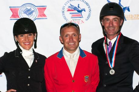 $40,000 Adequan USEA Gold Cup Final winners L-R Laine Ashker, Buck Davidson and Matthew Brown. Michelle Dunn photo.