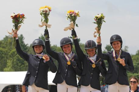 Area ll's Skyler Decker, Camilla Grover-Dodge, Amanda Beale Clement and Morgan Booth claimed the Junior Eventing Team Championship at the FEI North American Championships for Juniors and Young Riders 2015. Grover-Dodge also claimed the Individual Junior Eventing title. (Photo: FEI/Brant Gamma)
