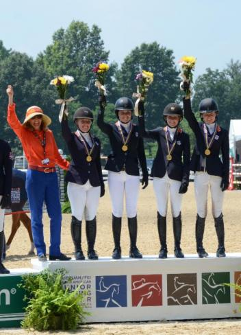 Junior Team Zone 4 Gold Medalists (from left to right): Kim Land, chef d'equipe; Mackenzie McGehee; Sophie Simpson; Brett Burlington; and Louise Graves.