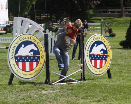 Two competitors enjoy the fun atmosphere of the JustWorld Horseless Horse Show. Photo by Carrie Wirth