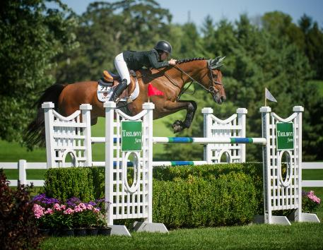 Kaitlin Campbell and Rocky W put in two double clear rounds. Photo: Andrew Ryback/ChicagoEquestrian