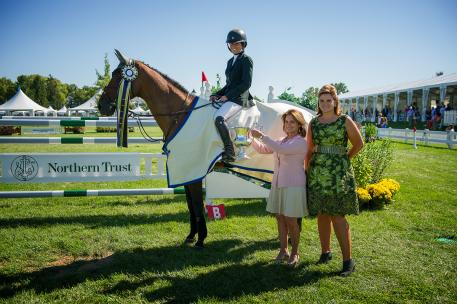 Kaitlin Campbell and Rocky W  take home the top prize in the $75,000 Evergreen Invitational Grand Prix presented by Northern Trust. Photo: Andrew Ryback/ChicagoEquestrian.
